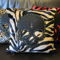 Skull Cushion - Antelope Animal Print with Black Felt Skull