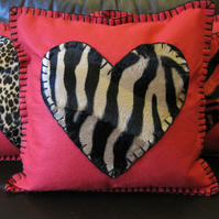 Love Heart Cushion - Red Felt with Antelope Print Heart