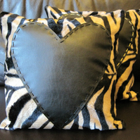 Valentine Love Heart Cushion – Beige and Black Antelope Print