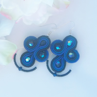 Earrings, blue soutache and beads