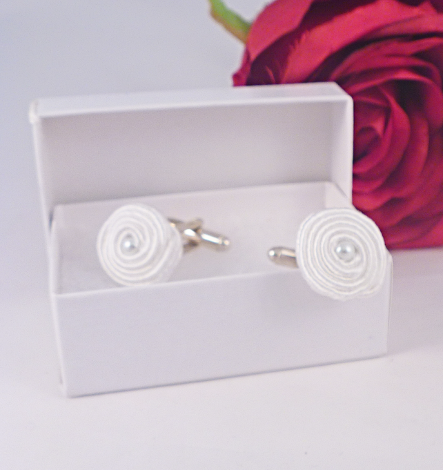 Cuff links white soutache and bead