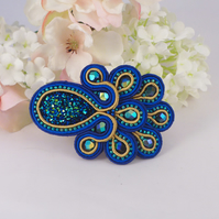 Barrette, beaded sparkling peacock hair clip.