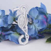 Seahorse brooch in soutache and beads