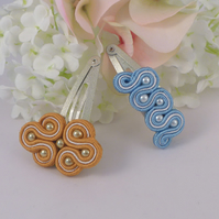 Beaded hair clips handmade in soutache