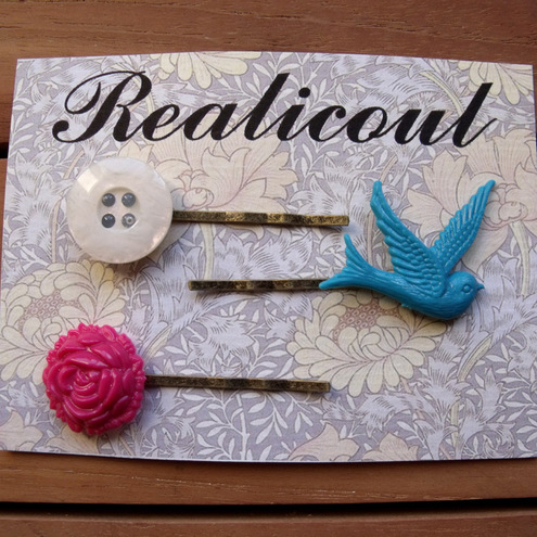 Swallow and Rose Hair slide set