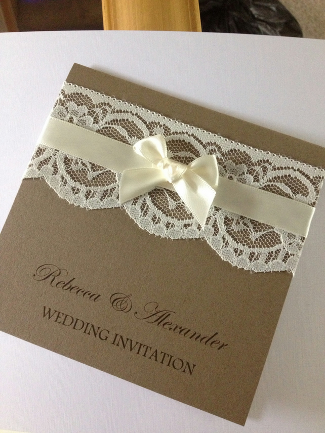 Personalised Handmade Vintage Lace Wedding Invitation With Ribbon Any Colour