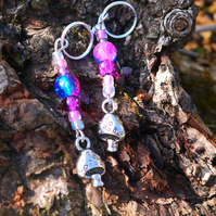 Handmade beaded stitch markers, toadstool  charm, set of 4 markers