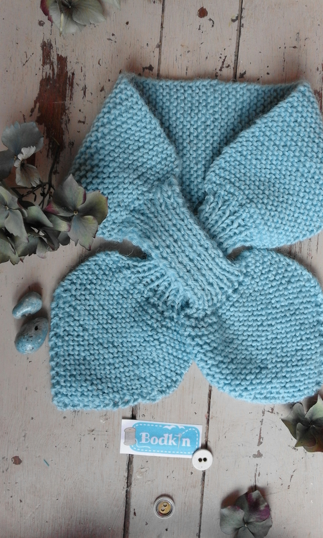 soft pale blue bow scarf