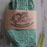 Light green bow scarf naturally dyed with nettles using British wool