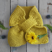 Child's yellow bow scarf - hand-knitted scarf in sunshine yellow