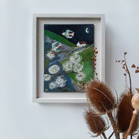 'By the Clematis Moon' - original Folk Art painting