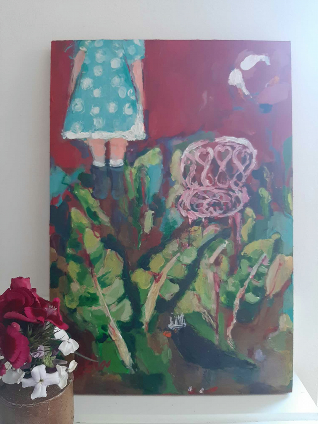 Original painting the blackbird and the pink chair