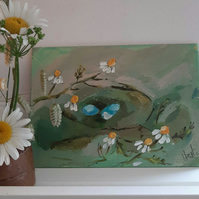 Small abstract nest painting with flowers