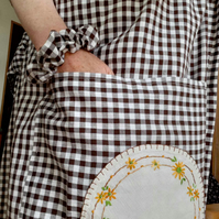 Long length gingham skirt with matching mask