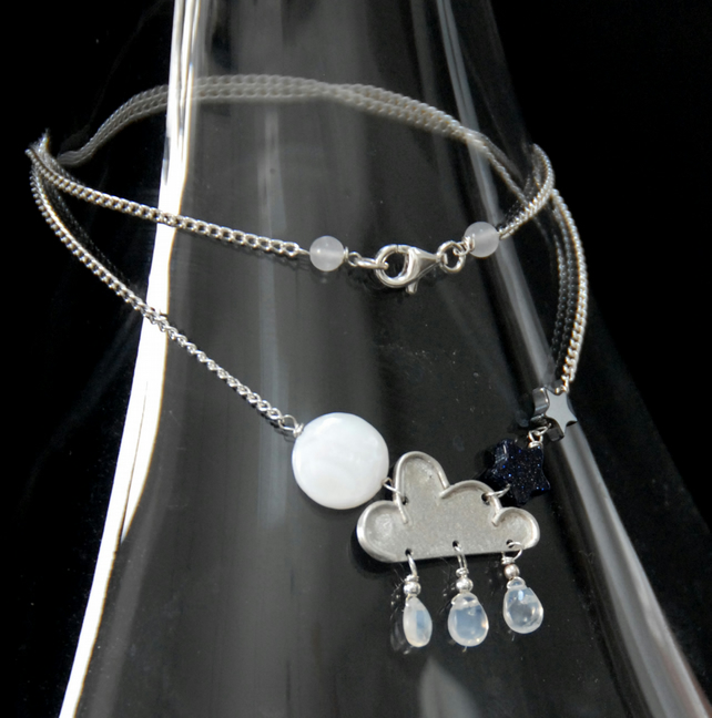 Sterling silver cloudy night sky pendant
