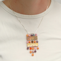 Copper and peach pink cats eye glass statement necklace