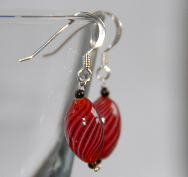 blown glass and silver earrings - red with black twist