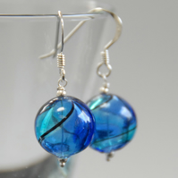 round blown glass and silver earrings - light and dark blue