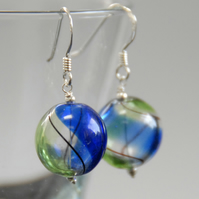 round blown glass and silver earrings - blue and green