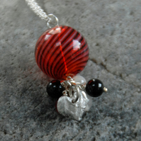 red and black blown glass and silver heart necklace (valentines)