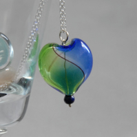 Blue and green blown glass heart silver necklace