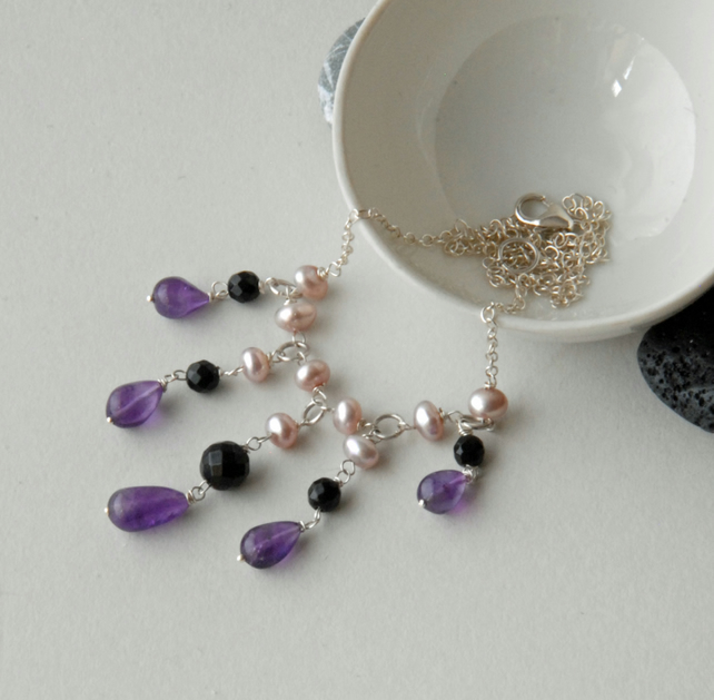 Purple amethyst, pearl and black onyx silver necklace