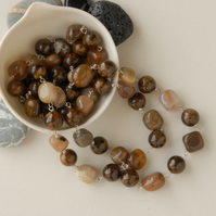 Brown Bronzite and Petrified Wood beaded sterling silver necklace