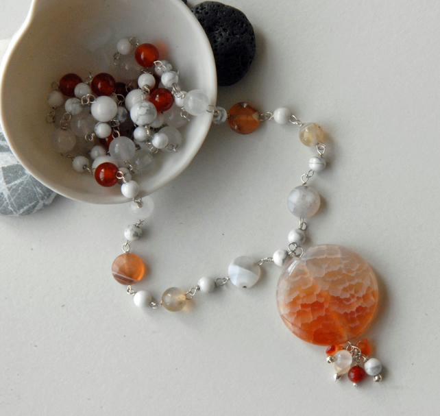 Beaded agate, white howlite, orange carnelian and jade silver necklace
