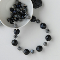 Blue goldstone and grey larvakite necklace