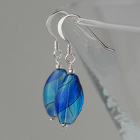blown glass and silver earrings - light and dark blue bright version