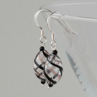 blown glass and silver earrings - black and pink - last pair