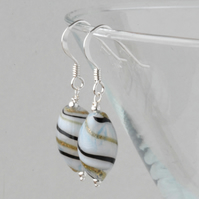 blown glass and silver earrings - white with black and green twist