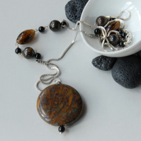 Sterling silver and brown bamboo jasper necklace
