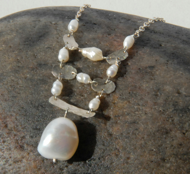 Sterling silver and white pearl necklace