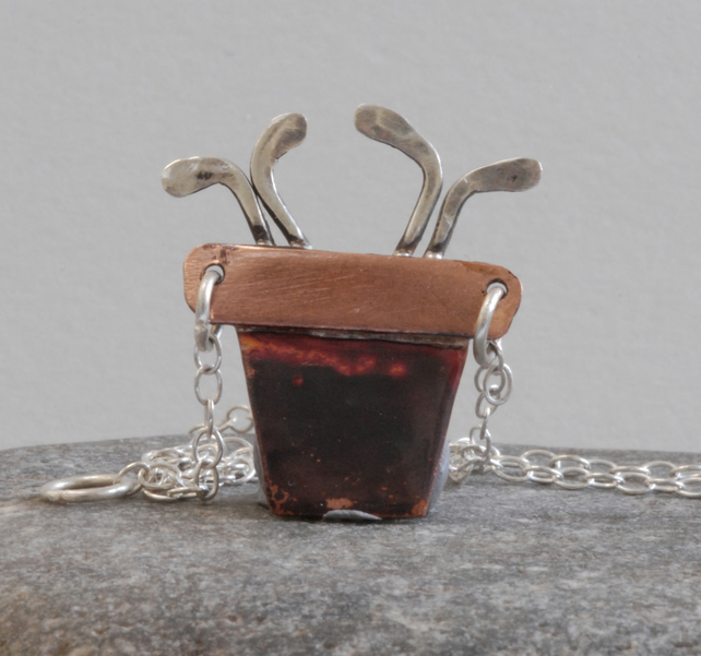 Pot of seedlings necklace in copper and silver