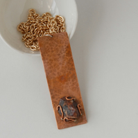 Rough crystal and copper necklace