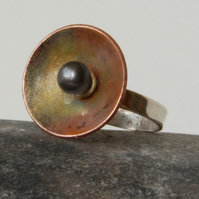 Sterling Silver, copper and black pearl ring