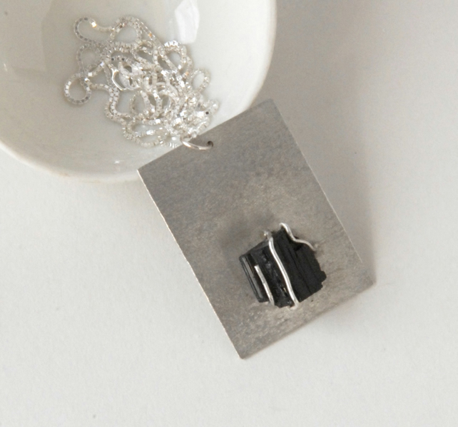 Sterling silver and rough black tourmaline crystal pendant necklace