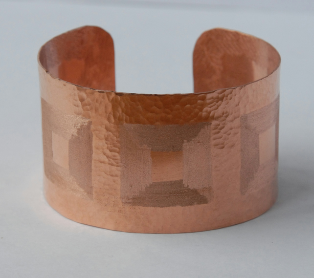 Geometric textured copper cuff