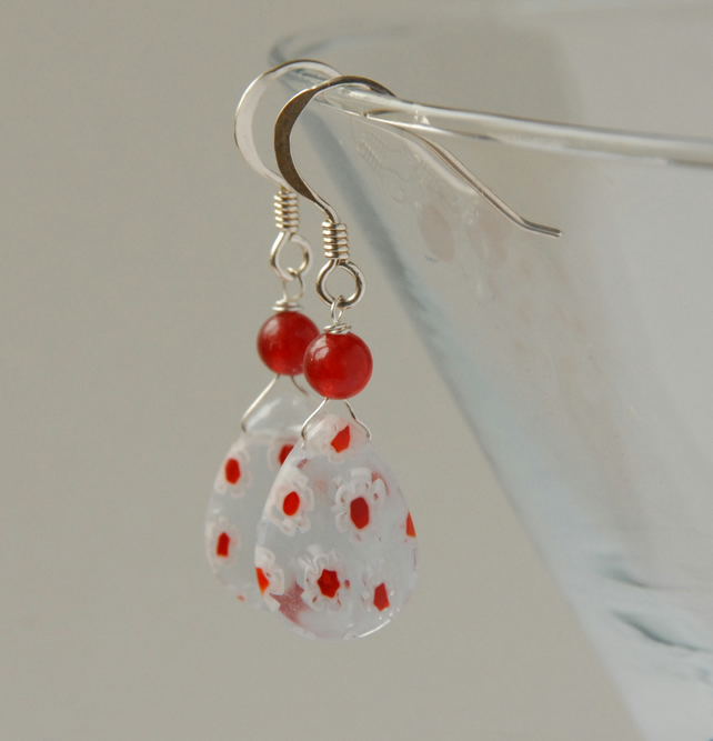 Millefiore glass and quartzite earrings - clear, white and red