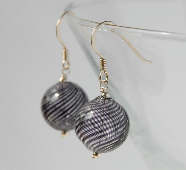 blown glass and silver earrings -clear and navy blue