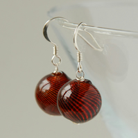 blown glass and silver earrings - red and black