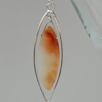 Marquise shaped sterling silver and carnelian pendant