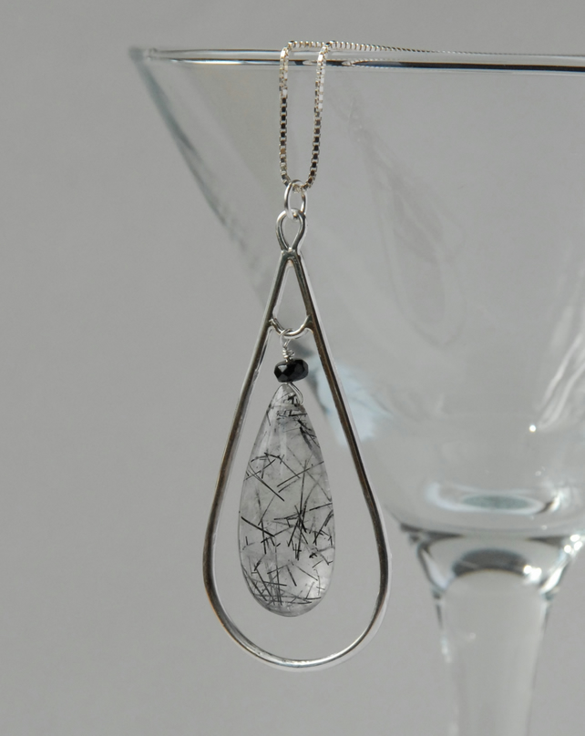 Tourmalinated quartz, tourmaline and silver pendant