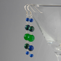 Long bright blue and green beaded sterling silver earrings