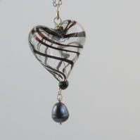 Black and clear blown glass heart with black pearl silver necklace (valentines)