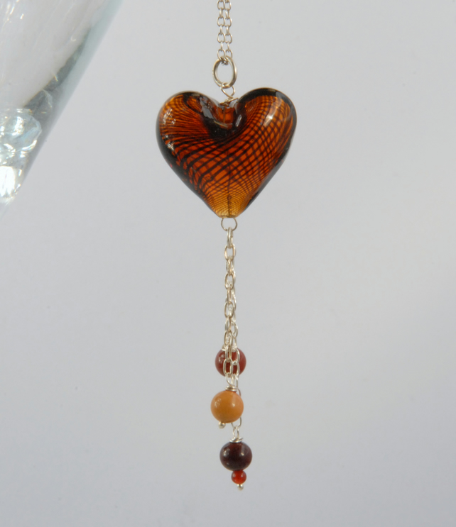 Dangly brown blown glass heart necklace (valentines)