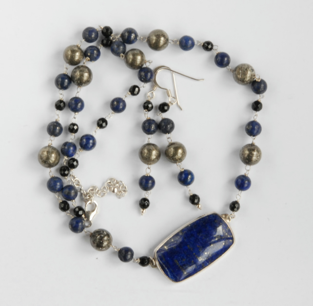 Blue Lapis, golden pyrite and black onyx silver necklace and earrings set