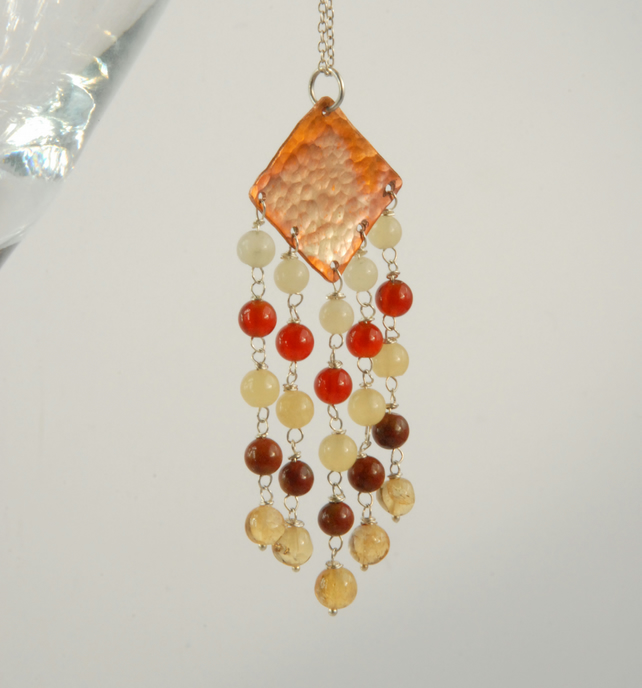 Fringed copper pendant with sterling silver chain (orange, red, yellow)