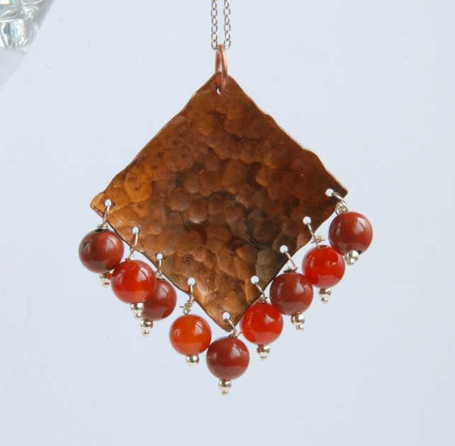 Large fringed copper pendant with silver chain (orange brown)
